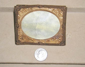 Antique 1860's Civil War Era Ornate Gold Over Base Metal Picture Frame Vintage 2059