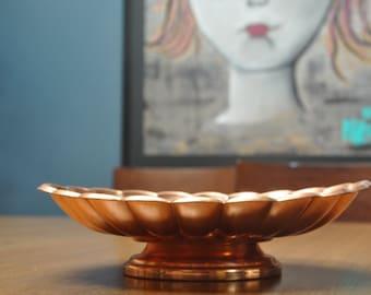 Vintage Copper Bowl with ornate details