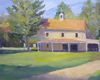 Landscape Oil Painting Down by the Farm