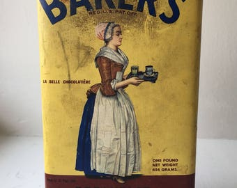 Baker's Cocoa Vintage Tin | Cute Antique Kitchen Collectible | Probably 1930s