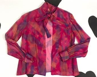 70's sheer fuchsia silk chiffon tie neck shirt 1970's sexy disco tropical watercolor open scarf tie blouse top / pussy bow long sleeve S XS