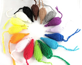 Mouse Cat Toys, Set of 3 Knitted Mice, Handmade, Pick A Color, Optional Catnip/Valerian & Bell, Kitten Toys, Mouse Cat Toys, Catnip Mice