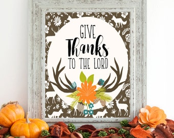 Give Thanks to the Lord Digital Art, Fall Digital Art, Instant Download, Autumn Art, Fall Art, 8 x 10 Digital, Thanksgiving Decor, Antlers