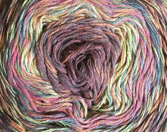 Katia Funny Rainbow Pink Mint Denim Variegated Gradient 4 strands 100% Cotton Yarn Cake 688 Yards Color 100