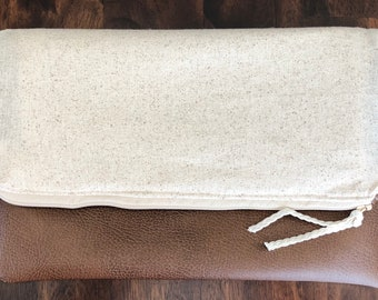 Brown Vinyl and Linen Fold Over Clutch