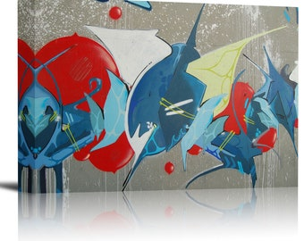 Abstract Graffiti Concrete Art Print Wall Decor Image - Canvas Stretched Framed