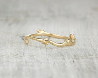 RESERVED LISTING - Nature Wedding Band Gold - Budded Twig Promise Ring or Wedding Band in Rose Gold, Yellow Gold, White Gold or Platinum