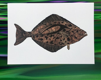 "Halibut Greeting Cards - 6 Pack - 4"" X 6"" size - Letter Press - on Heidelberg - Strathmore Paper - Envelopes - by The Fish Mill"