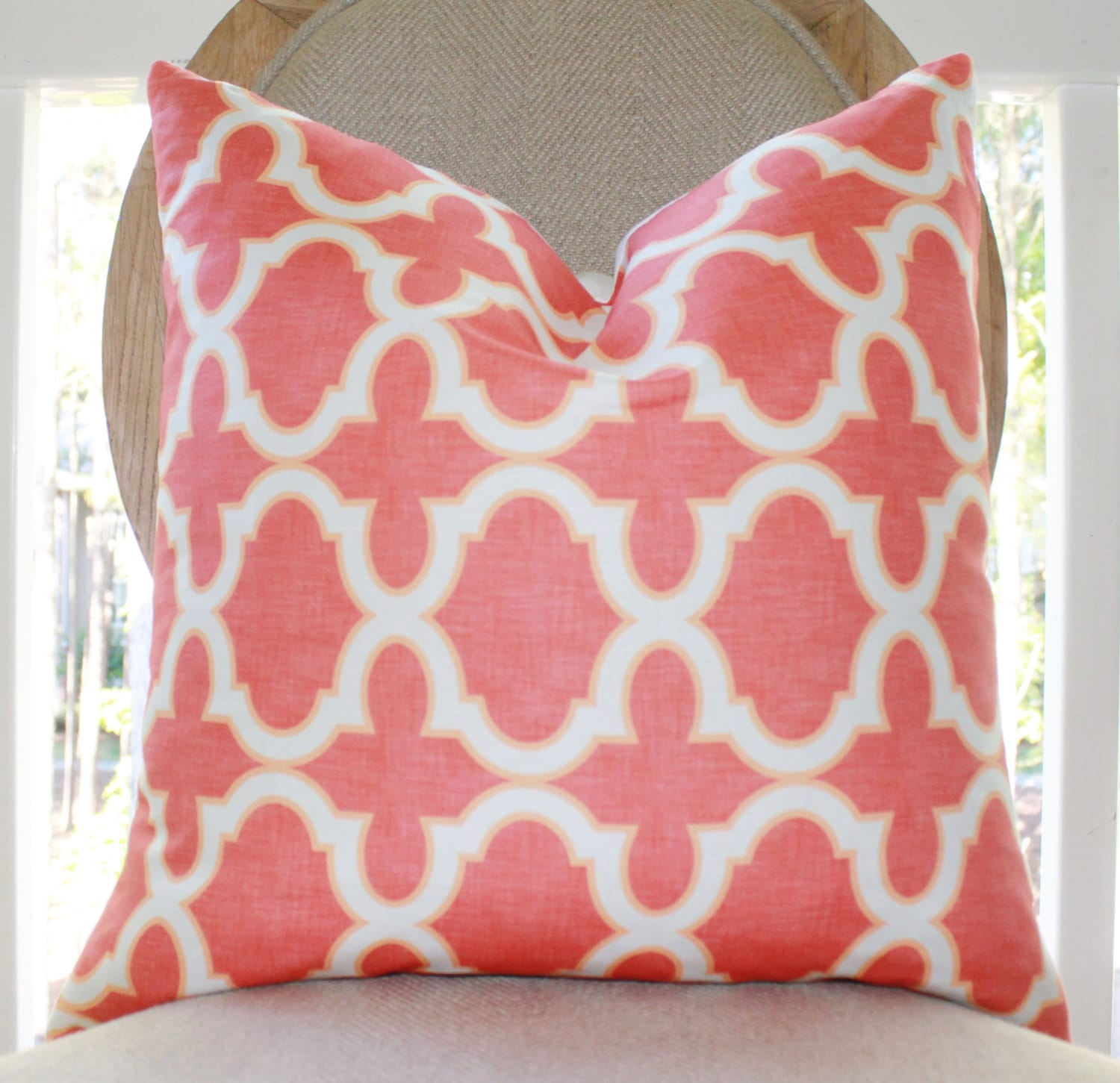 Ready to Ship 17 Coral Quatrefoil Pillow Cover
