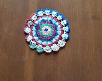 Vintage Round Serviette, Crochet Doily, Table Napkin, home decoration, multicolor