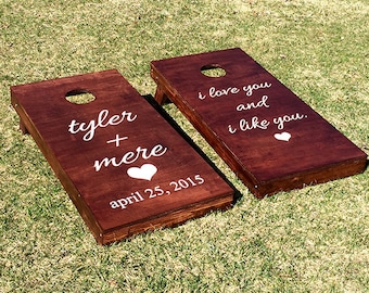 Custom Monogram Wedding Cornhole Boards - Custom Decal Expressions