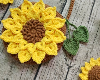 crochet sunflower bag, crochet love, sunflower, sunflower purse, PDF Instant Download