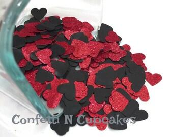 Glitter Confetti/Glitter Red and Black Heart Confetti/anniversary party decorations/Cake Table Decor/Wedding Reception Scatter/Sweet 16/