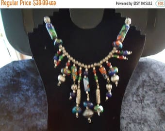 ON SALE Vintage Multi Color Necklace Retro Collectible Costume Jewelry