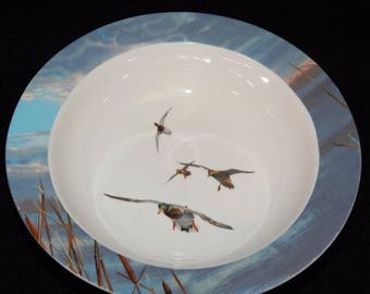 "ON SALE Ducks Unlimited Soup Cereal Bowl Dinnerware Light Blue Rim with Birds in Center White Background Excellent Condition 8 1/4"" in diame"