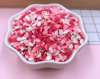 Fake Sprinkles - Heart Shaped Sprinkles - 50 grams Pink, Red & White Heart Shaped Fake Sprinkles Flakes Polymer Clay Cabochons - 50 g bag