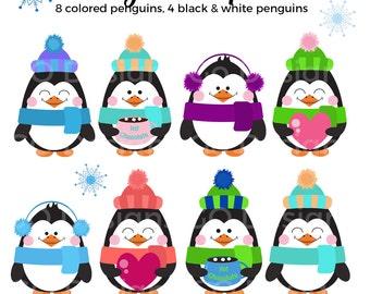 Penguin Clip Art, Cute Penguin Graphic, Penguin Clipart Set, Winter Clipart, Cute Penguins, Penguins with Hearts Hot Chocolate Earmuffs