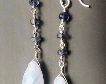 Blue lace agate, Iolite, Sterling silver dangle earrings