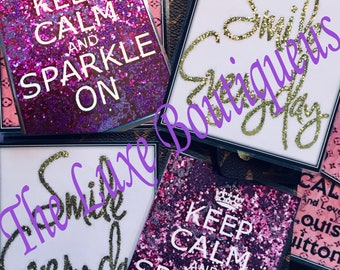 Double Sided Glitter Laminated Planner Cards/Bookmarks ONE SIZE- Very Cute!!
