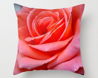 Vibrant Pink Rose, Throw Pillow Cover, Fine Art Photography, Beautiful Floral Cushion, Cottage Chic Pillow, Rose Home Decor, cozy, Zen, Soft