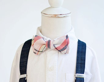 Bow Tie, Bow Ties, Suspenders, Boys Bow Ties, Baby Bow Ties, Ring Bearer - Coral, Blush, Navy Plaid Bow Tie and Navy Chambray Suspender Set