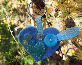 Handmade Felt Heart Shaped Keyring