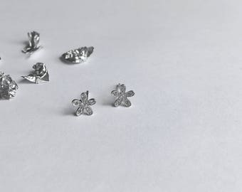 Sterling Silver Tiny Cubic Zirconia Flower Stud Earrings