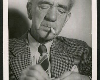 Vintage Large Format Photo of Old Man Lighting Cigarette With Eyes Closed 1950's, Original Found Photo, Vernacular Photography