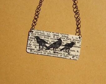 Raven necklace Crow jewelry mixed media jewelry
