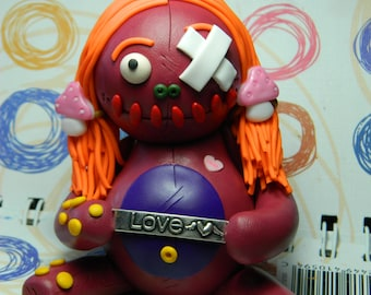 Miss Chloe of Mountain Street.  Medium Clumzie Love Zombie Doll Hand Sculpted Collectible Polymer Clay Figurine was 16.50 now only 15.50