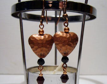 Beaten Hearts copper earrings