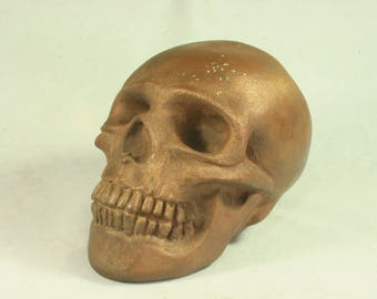 Bronze Plated Copper  Electroformed Skull