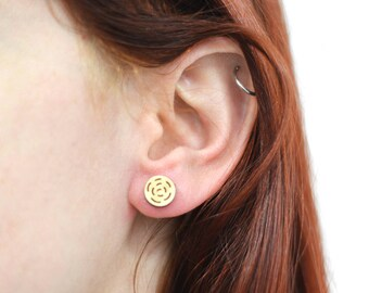 Earring wooden stud - Round 'Billy' earring, plywood australian native flora