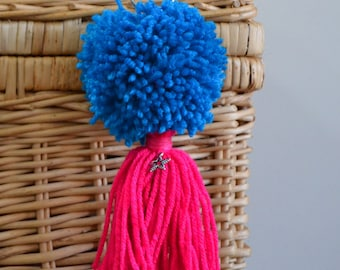 Blue and Pink Pom Pom & Tassel Clip-on with Star Charm -  Keychain, Beach Bag or Backpack Flair Clip