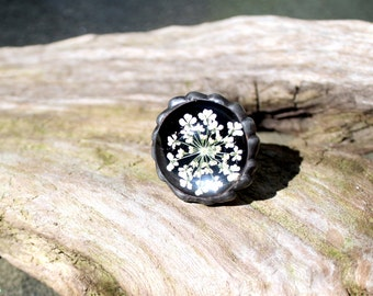 White Queens Anne Lace Floral ring, Real Flower Ring, Pressed Flower Ring, Real Dried Flower