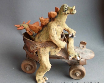 Stegosaurus Dinosaur on Roller Skate Ceramic Sculpture