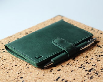 Green Notebook Cover, Leather Notebook Cover, Leather Journal Cover, Notebook Cover, Field Notes Cover, Field Notes Wallet, Leather Notebook