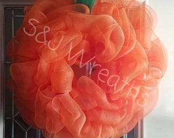 Pumpkin Wreath/Mesh Pumpkin Wreath/Halloween Wreath/Fall Wreath/Fall Pumpkin/Orange Wreath/Autumn Wreath/Orange and Green/Burlap/Mesh