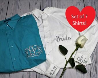 Set of 7 Embroidered Monogrammed Button Down Shirt, Bridesmaids Oversized Shirt, Bridal Shirt, Getting Ready Shirt, Wedding Day Shirt