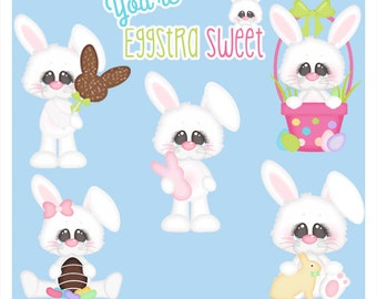Clipart - Easter Bunny clip art - Eggstra Sweet - Kristi W Designs