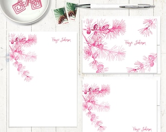 complete personalized stationery set - watercolor PINE TREE BRANCH - personalized stationary - note cards - notepad