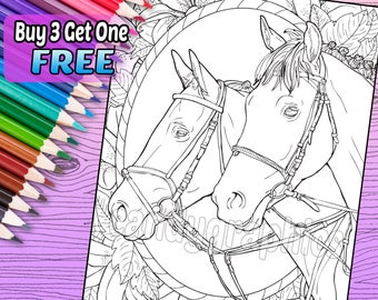 Beautiful Horse 2 - Adult Coloring Book Page - Printable Instant Download