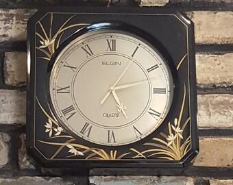 Or, carré, noir et Elgin rare horloge murale à Quartz