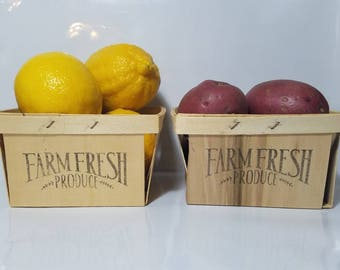 Hand Inked Farm Fresh Produce Berry/Produce Crates/boxes. Set of Two!