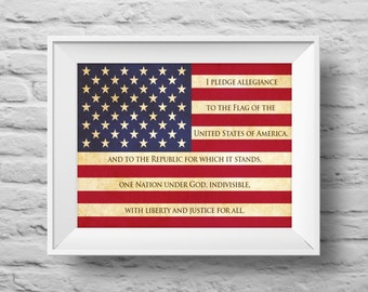 I PLEDGE ALLEGIANCE American Flag unframed art print Typographic poster, inspirational print, patriotic, wall decor, quote art. (R&R0144)