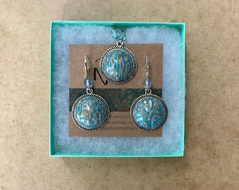Polymer Clay Jewelry Set // Earrings and Pendant // Unique Gift for Her // Mokume Gane // Modern Earrings // Modern Necklace //