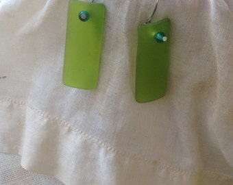 green seaglass earrings