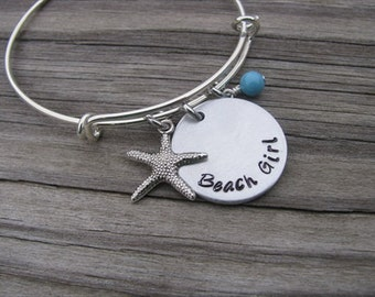 "Beach Inspiration Bracelet- ""Beach Girl"" with starfish charm and an accent bead of your choice"