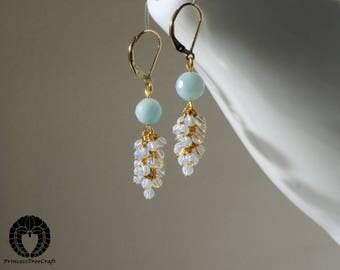 Amazonite and opalite opal cluster earrings with 14K gold filled lever back ear wire