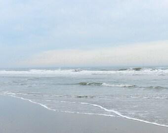 Blue Beach Photography, Minimalist Art Print, Pastel Beach Print, Nature Photography, Pale Blue Ocean Art, Grey Beach Art, Coastal Wall Art